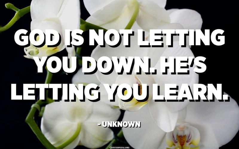 Déu no us defrauda. Et deixa deixar aprendre. - Desconegut