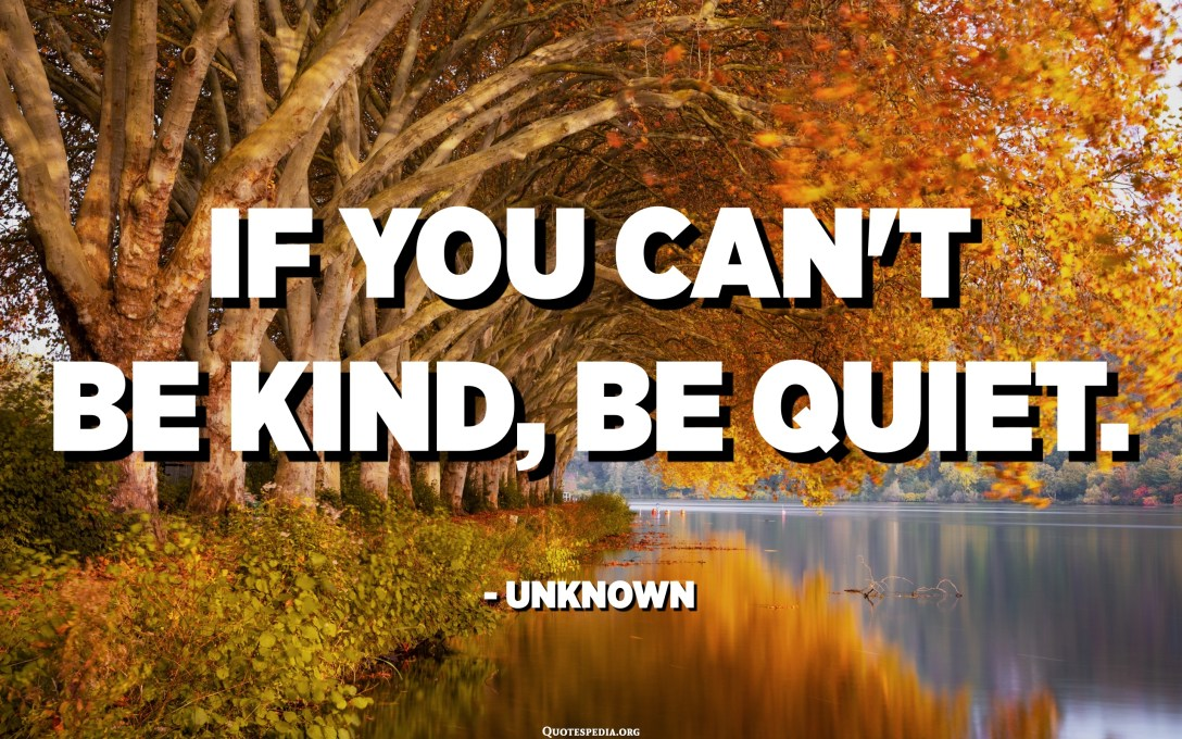 If you can't be kind, be quiet. - Unknown