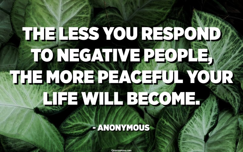 The less you respond to negative people, the more peaceful your life will become. - Anonymous