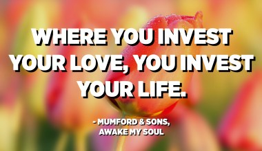 Where you invest your love, you invest your life. - Mumford & Sons, Awake My Soul