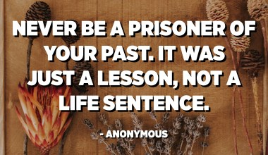 Never be a prisoner of your past. It was just a lesson, not a life sentence. - Anonymous
