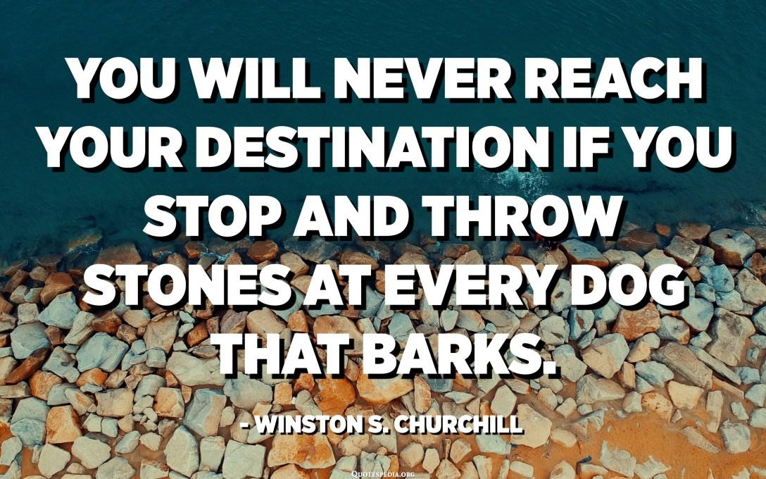 لن تصل أبدًا إلى وجهتك إذا توقفت ورميت الحجارة على كل كلب ينبح. - ونستون تشرشل