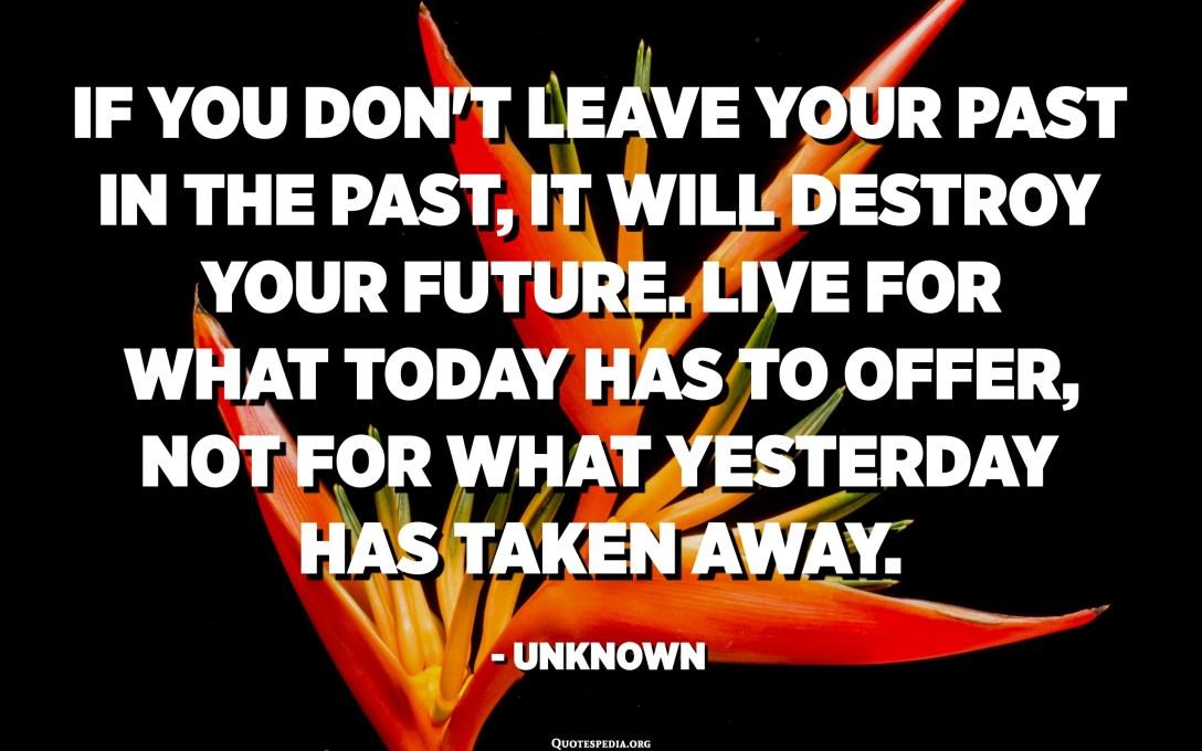 إذا لم تترك ماضيك في الماضي ، فسوف يدمر مستقبلك. عش لما يقدمه اليوم ، وليس لما أخذته الأمس. - مجهول