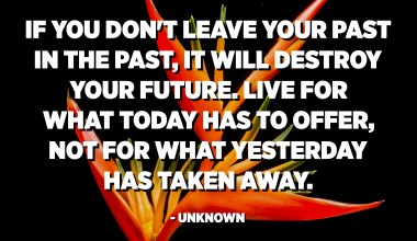 If you don't leave your past in the past, it will destroy your future. Live for what today has to offer, not for what yesterday has taken away. - Unknown