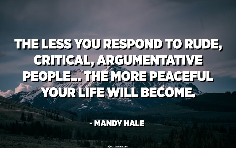 The less you respond to rude, critical, argumentative people... the more peaceful your life will become. - Mandy Hale