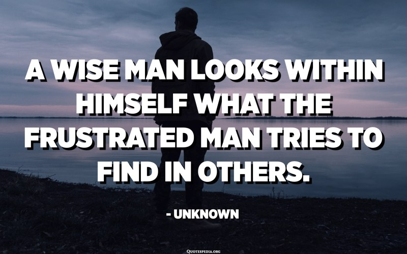 A wise man looks within himself what the frustrated man tries to find in others. - Unknown