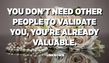 No necessiteu que altres persones us el validin, ja sou valuosos. - Desconegut