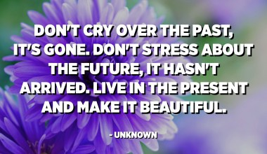 Don't cry over the past, it's gone. Don't stress about the future, it hasn't arrived. Live in the present and make it beautiful. - Unknown