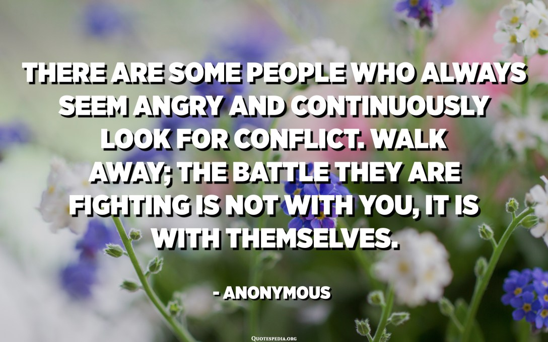 There are some people who always seem angry and continuously look for conflict. Walk away; the battle they are fighting is not with you, it is with themselves. - Anonymous