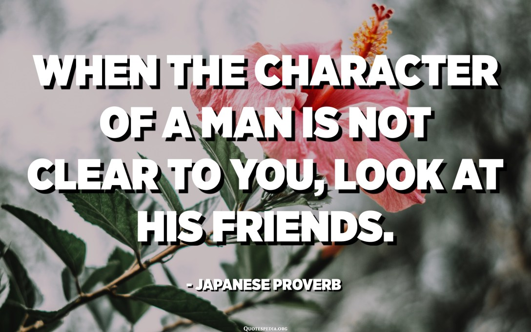 When the character of a man is not clear to you, look at his friends. - Japanese Proverb