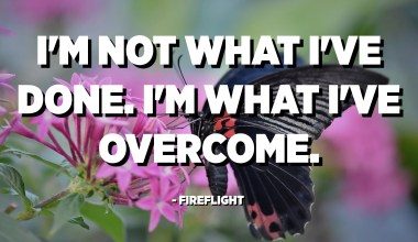 I'm not what I've done. I'm what I've overcome. - Fireflight