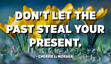 Don't let the past steal your present. - Cherrie L. Moraga