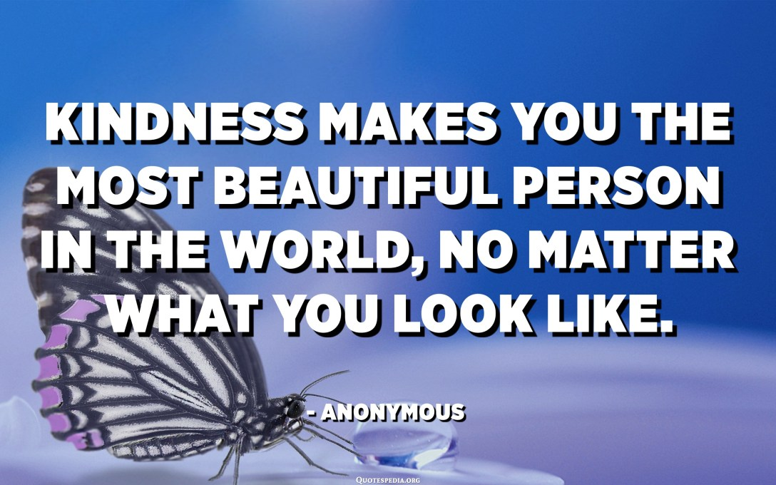 Kindness makes you the most beautiful person in the world, no matter what you look like. - Anonymous