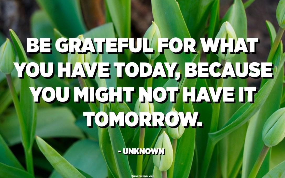 Agradezca lo que tiene hoy, porque es posible que no lo tenga mañana. - Desconocido
