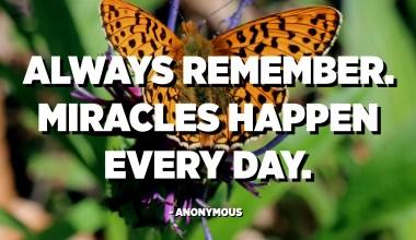 همیشه به یاد داشته باشید. معجزه ها هر روز اتفاق می افتند. - ناشناس