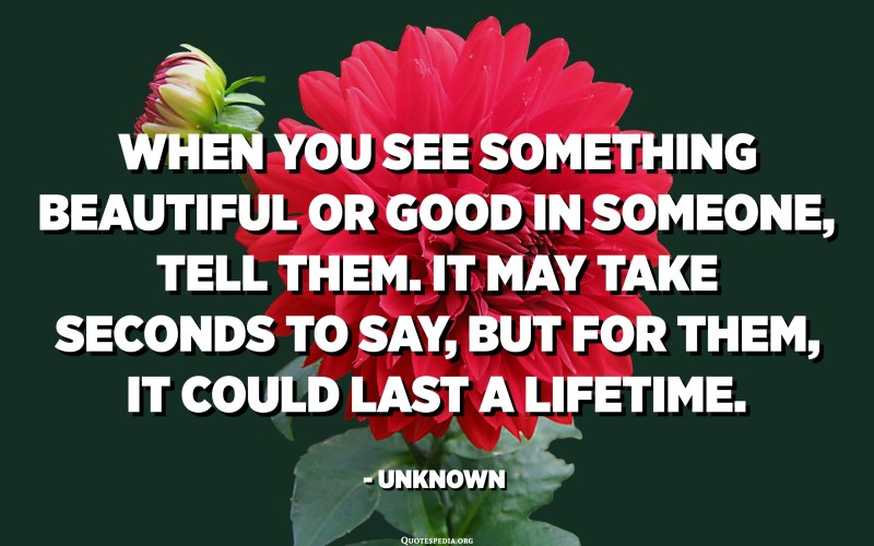 When you see something beautiful or good in someone, tell them. It may take seconds to say, but for them, it could last a lifetime. - Unknown