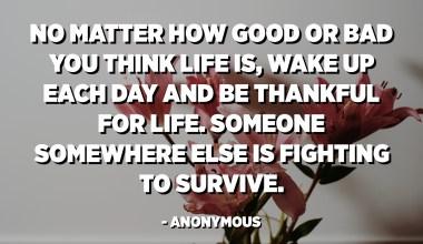 Oavsett hur bra eller dåligt du tror att livet är, vakna upp varje dag och var tacksam för livet. Någon annanstans kämpar för att överleva. - Anonym