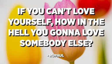 If you can't love yourself, how in the hell you gonna love somebody else? - RuPaul