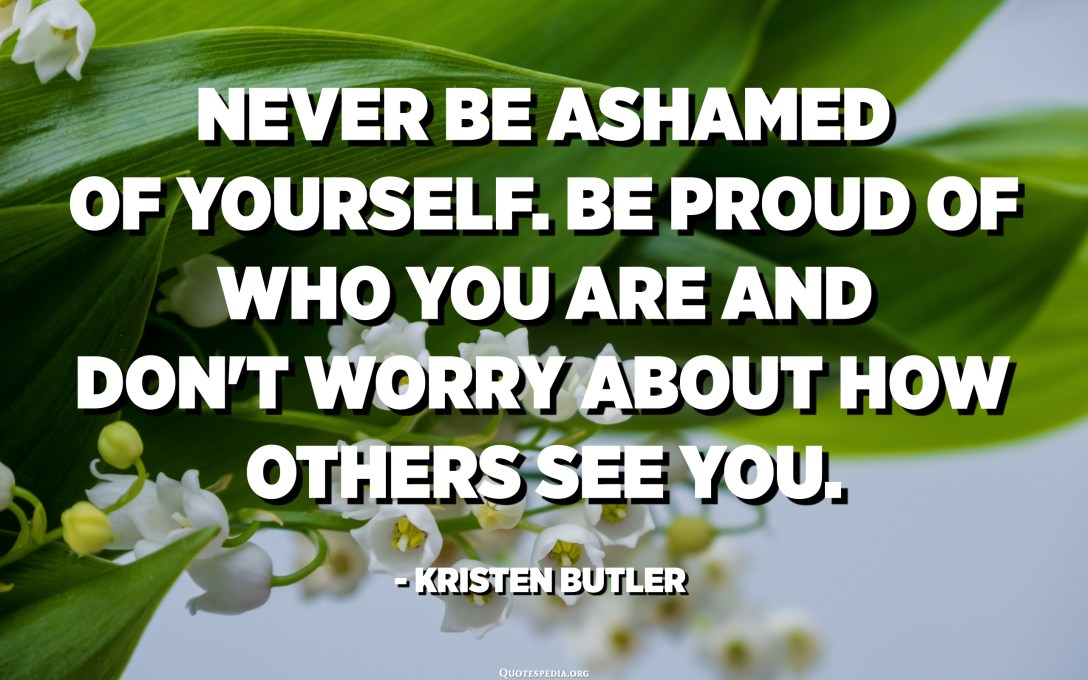 Never be ashamed of yourself. Be proud of who you are and don't worry about how others see you. - Kristen Butler