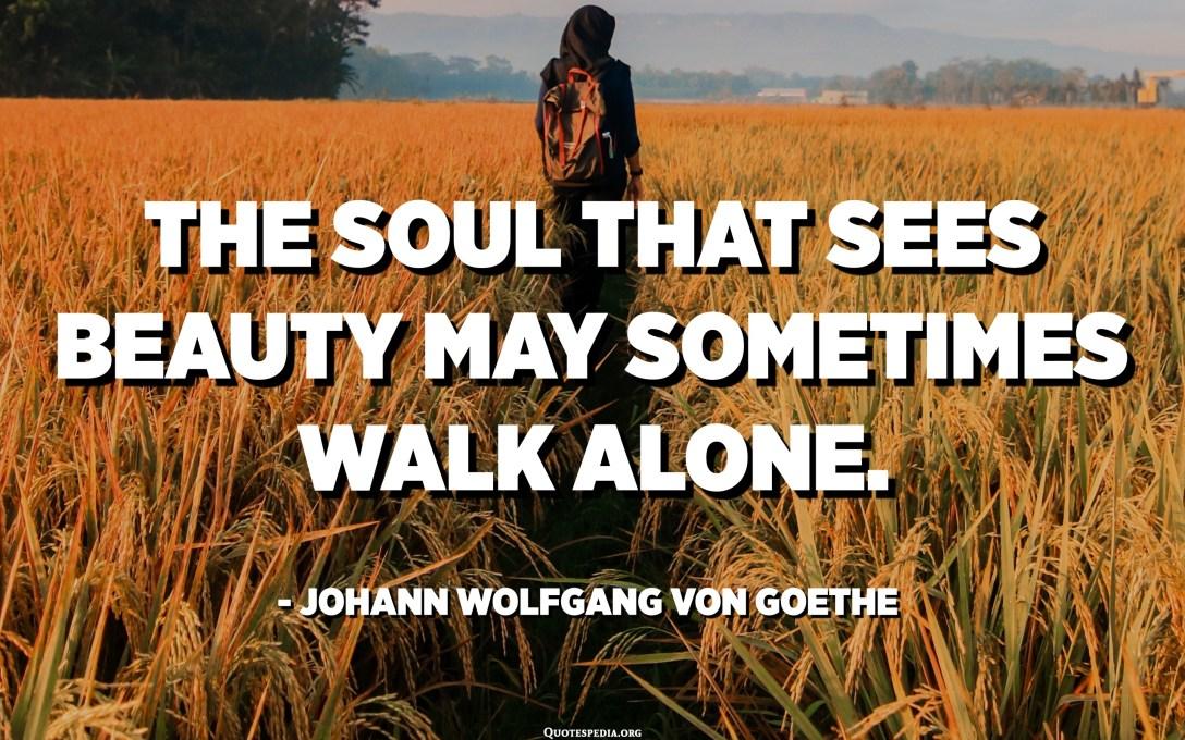 الروح التي ترى الجمال قد تمشي وحدها في بعض الأحيان. - يوهان فولفغانغ فون غوته