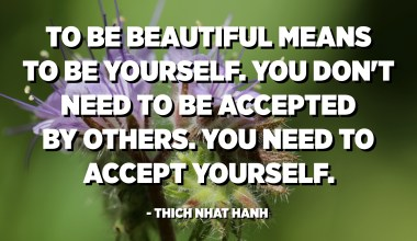 To be beautiful means to be yourself. You don't need to be accepted by others. You need to accept yourself. - Thich Nhat Hanh