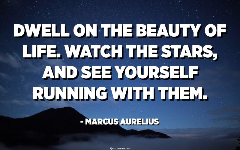 Dwell on the beauty of life. Watch the stars, and see yourself running with them. - Marcus Aurelius