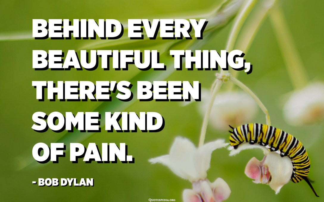 وراء كل شيء جميل ، كان هناك نوع من الألم. - بوب ديلان