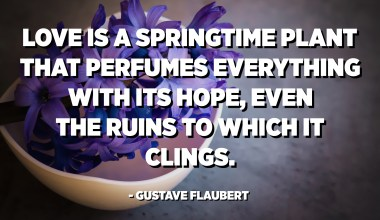 Love is a springtime plant that perfumes everything with its hope, even the ruins to which it clings. - Gustave Flaubert