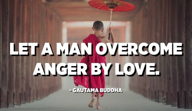 Let a man overcome anger by love. - Gautama Buddha