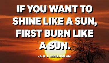 If you want to shine like a sun, first burn like a sun. - A. P. J. Abdul Kalam