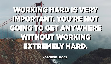 Working hard is very important. You're not going to get anywhere without working extremely hard. - George Lucas