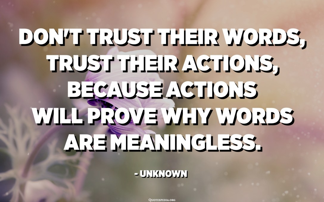 Don't trust their words, trust their actions, because actions will prove why words are meaningless. - Unknown