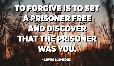 To forgive is to set a prisoner free and discover that the prisoner was you. - Lewis B. Smedes