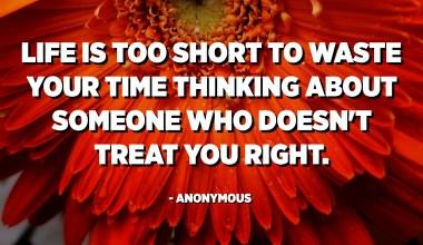 Dzīve ir pārāk īsa, lai tērētu laiku domāšanai par kādu, kurš pret tevi izturas pareizi. - Anonīms