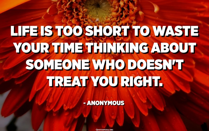 Life is too short to waste your time thinking about someone who doesn't treat you right. - Anonymous