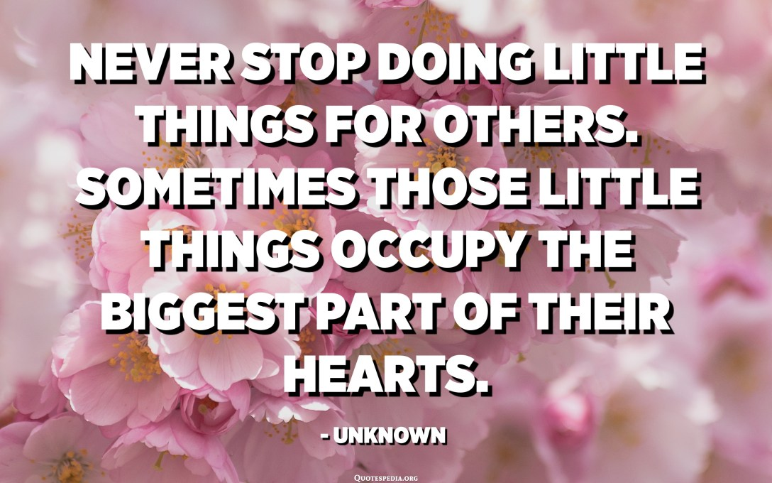Never stop doing little things for others. Sometimes those little things occupy the biggest part of their hearts. - Unknown