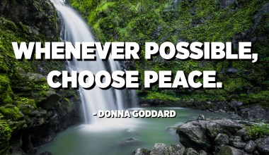 Whenever possible, choose peace. - Donna Goddard
