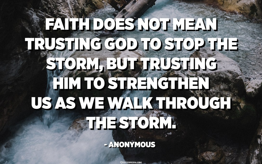 Faith does not mean trusting God to stop the storm, but trusting him to strengthen us as we walk through the storm. - Anonymous