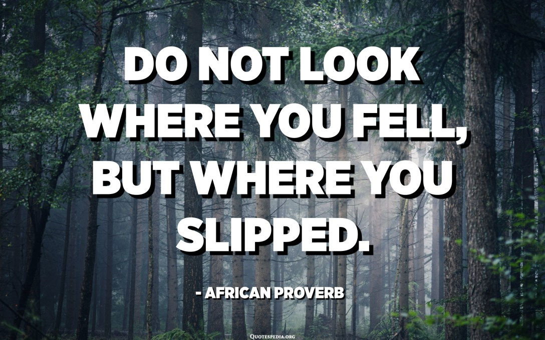 Do not look where you fell, but where you slipped. - African Proverb
