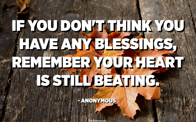 If you don't think you have any blessings, remember your heart is still beating. - Anonymous