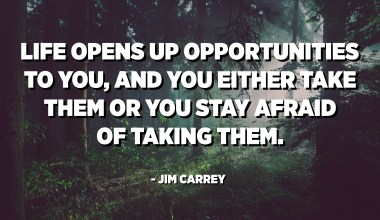 Life opens up opportunities to you, and you either take them or you stay afraid of taking them. - Jim Carrey