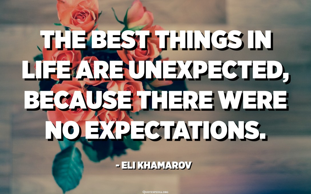 The best things in life are unexpected, because there were no expectations. - Eli Khamarov