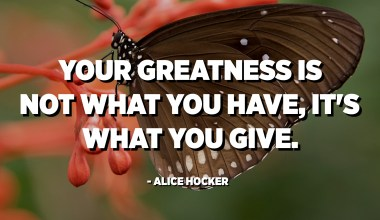 Your greatness is not what you have, it's what you give. - Alice Hocker