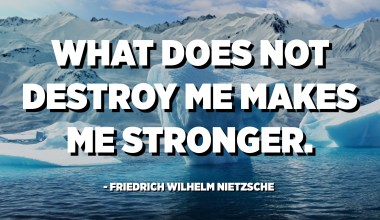 What does not destroy me makes me stronger. - Friedrich Wilhelm Nietzsche