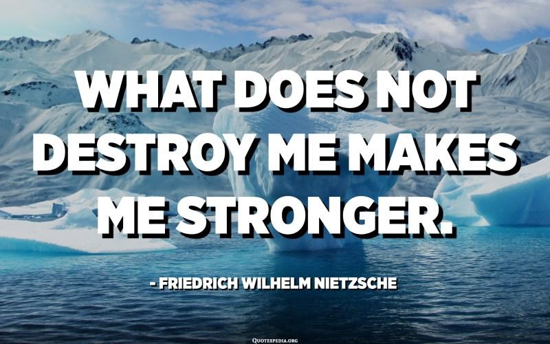 What does not destroy me makes me stronger. - Friedrich Wilhelm Nietzsche