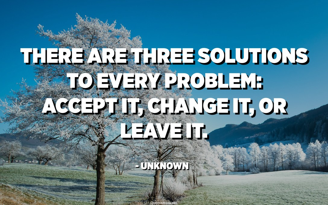 There are three solutions to every problem: accept it, change it, or leave it. - Unknown
