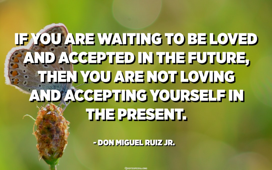 If you are waiting to be loved and accepted in the future, then you are not loving and accepting yourself in the present. - Don Miguel Ruiz Jr.