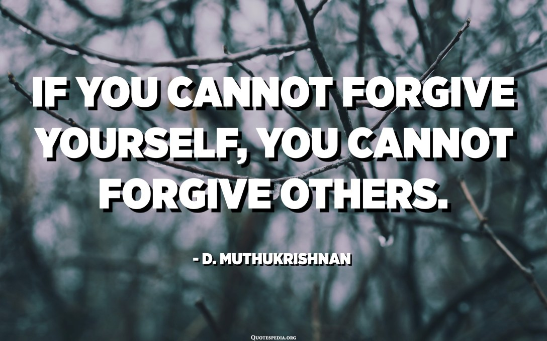 If you cannot forgive yourself, you cannot forgive others. - D. Muthukrishnan