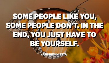 Some people like you, some people don't. In the end, you just have to be yourself. - Andres Iniesta