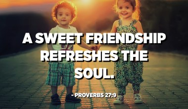 A sweet friendship refreshes the soul. - Proverbs 27:9